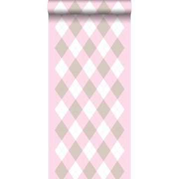 papel pintado rombo rosa claro bebé de ESTA home
