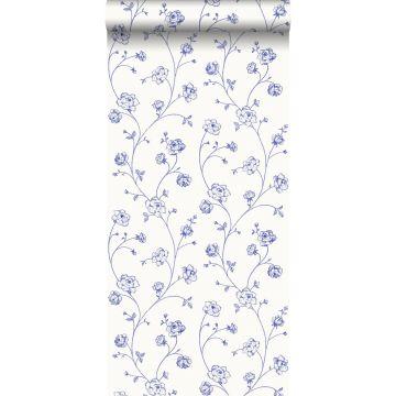 papel pintado rosas en tela de jouy azul de ESTA home