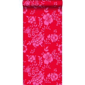 papel pintado flores rojo y rosa de ESTA home