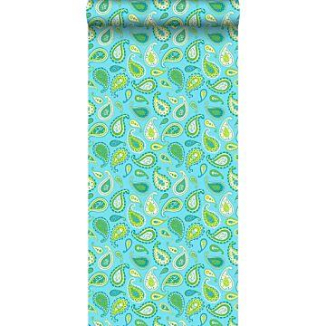 papel pintado paisley cachemir turquesa y verde limón de ESTA home
