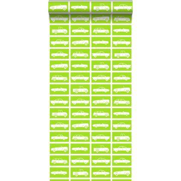 papel pintado coches verde limón de ESTA home