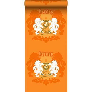 papel pintado leones naranja y blanco de ESTA home