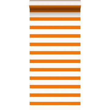 papel pintado rayas naranja y blanco de ESTA home