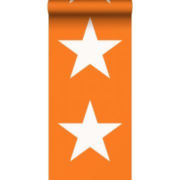 papel pintado estrellas naranja y blanco de ESTA home