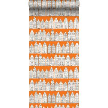 papel pintado casas de amsterdam naranja y blanco de ESTA home