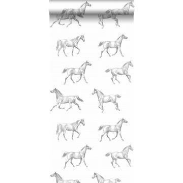 papel pintado dibujo a pluma de caballos negro sobre blanco de ESTA home