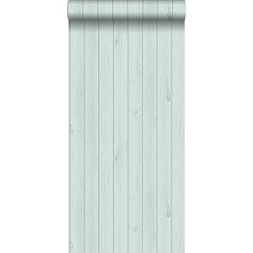 papel pintado tablas de madera estrechos vintage de madera recuperada verde menta pastel agrisado claro de ESTA home