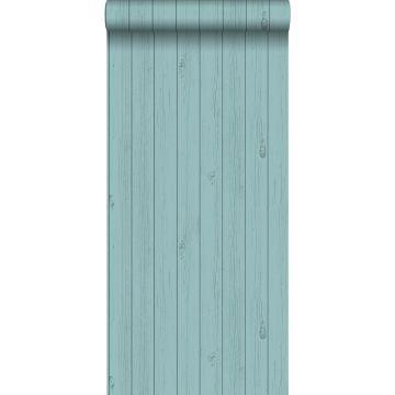 papel pintado tablas de madera estrechos vintage de madera recuperada verde mar turquesa grisáceo de ESTA home