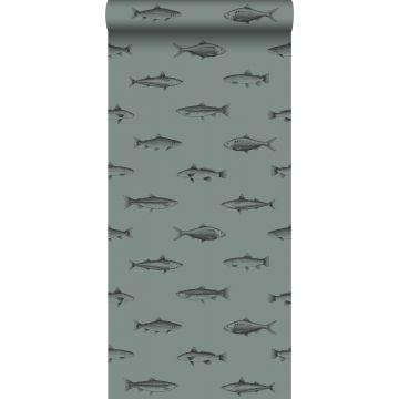 papel pintado dibujo a la pluma de peces verde grisáceo y negro de ESTA home