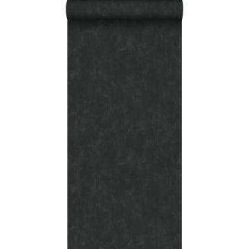 papel pintado liso con efecto pictórico negro de ESTA home