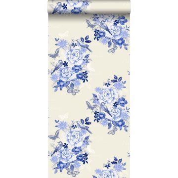 papel pintado flores y pájaros azul índigo de ESTA home