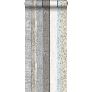 papel pintado tablas de madera gris y azul claro de ESTA home
