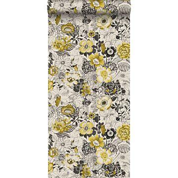 papel pintado flores amarillo ocre y beige de ESTA home