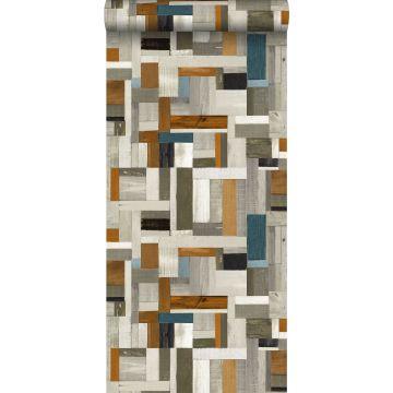 papel pintado madera de desecho gris, marrón y gris azulado de ESTA home