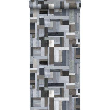 papel pintado madera de desecho azul y gris de ESTA home