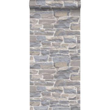papel pintado pared de ladrillos gris claro y beige de ESTA home