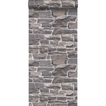 papel pintado pared de ladrillos azul y gris de ESTA home