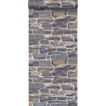 papel pintado pared de ladrillos azul y marrón de ESTA home