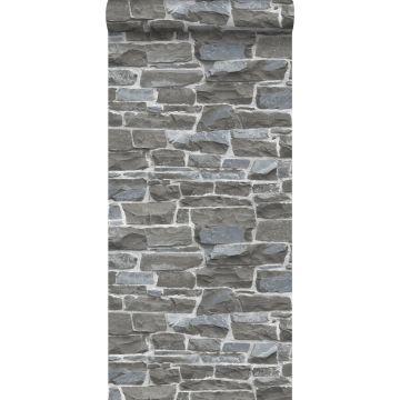 papel pintado pared de ladrillos gris oscuro de ESTA home