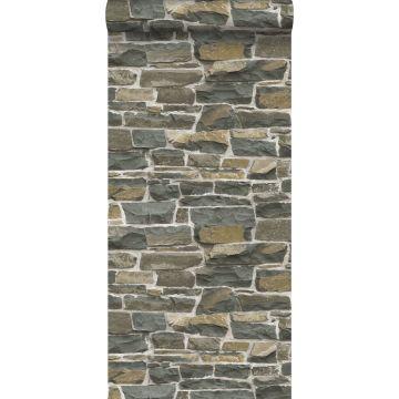 papel pintado pared de ladrillos marrón de ESTA home