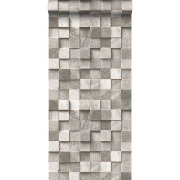 papel pintado diseño 3D gris pardo de ESTA home