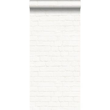 papel pintado pared de ladrillos blanquecino de ESTA home