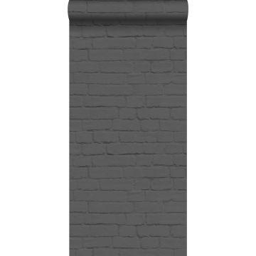 papel pintado pared de ladrillos negro de ESTA home