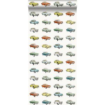 papel pintado coches antiguos vinatge naranja, amarillo ocre y verde de ESTA home