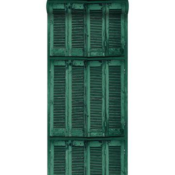 papel pintado persianas de madera curtida vintage verde esmeralda intenso de ESTA home
