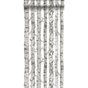 papel pintado troncos de abedul gris claro cálido de ESTA home
