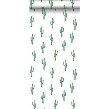 papel pintado pequeño cactus del desierto verde esmeralda intenso de ESTA home