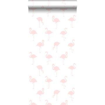 papel pintado flamencos rosa claro y blanco de ESTA home