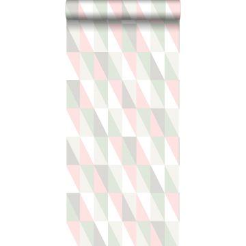 papel pintado triángulos gráficos rosa claro y menta verde de ESTA home