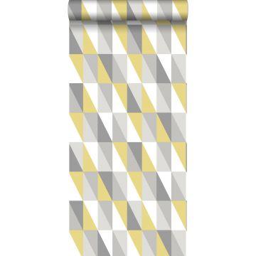 papel pintado triángulos gráficos amarillo ocre y gris de ESTA home