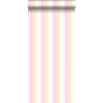 papel pintado rayas del arco iris rosa claro y beige de ESTA home