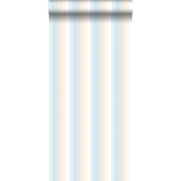 papel pintado rayas del arco iris azul claro y beige de ESTA home