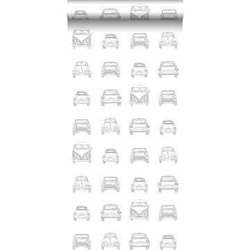 papel pintado coches vintage antiguos dibujados negro y blanco de ESTA home