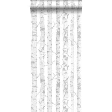 papel pintado troncos de abedul plata y blanco de ESTA home