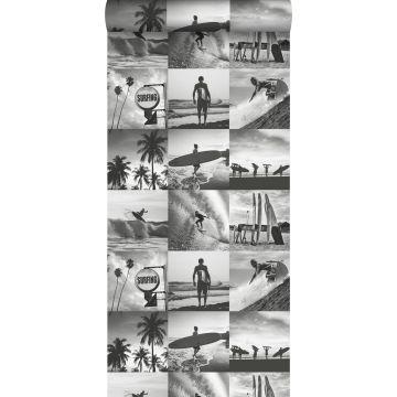 papel pintado fotos de surfistas gris oscuro de ESTA home
