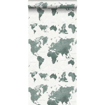 papel pintado mapa del mundo vintage con textura de tejido verde grisáceo de ESTA home