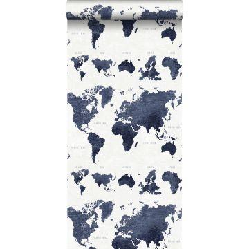 papel pintado mapa del mundo vintage con textura de tejido azul oscuro de ESTA home