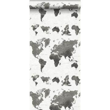 papel pintado mapa del mundo vintage con textura de tejido gris oscuro de ESTA home