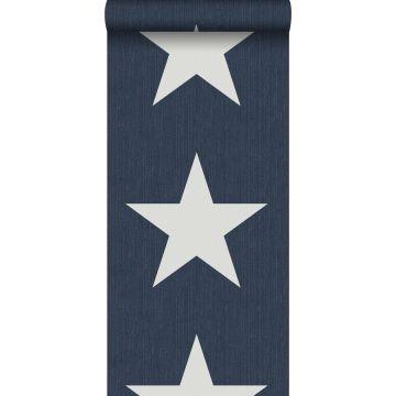 papel pintado estrellas sobre tela vaquera denim jeans azul oscuro de ESTA home