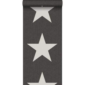 papel pintado estrellas sobre tela vaquera denim jeans gris oscuro de ESTA home