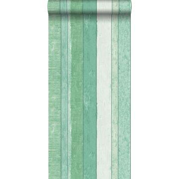 papel pintado madera de desecho verde de ESTA home