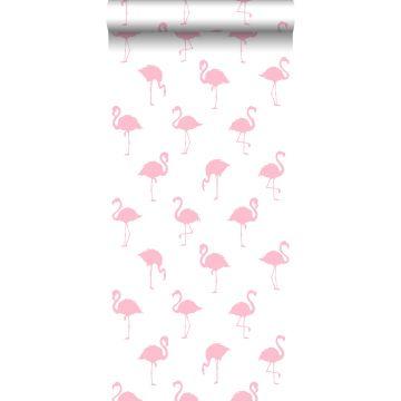 papel pintado flamencos rosa y blanco de ESTA home