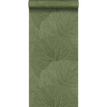 papel pintado hojas grandes verde oliva agrisado de ESTA home
