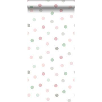 papel pintado puntos lunares rosa, verde y gris de ESTA home