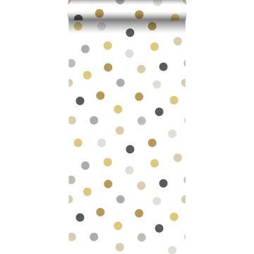 papel pintado puntos lunares oro, gris y negro de ESTA home