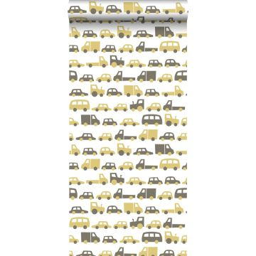 papel pintado coches amarillo ocre y marrón de ESTA home